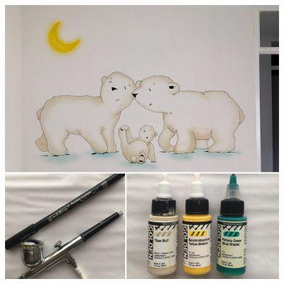 Collage muurschildering ijsbeertjes